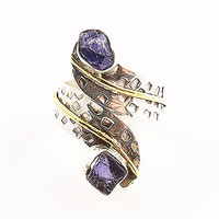 Iolite Rough Sterling Silver Two Tone Adjustable Ring