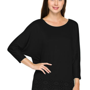 3/4 Sleeve Knit Top W/ Lace Trim