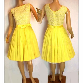 Vintage 1950s Dress Yellow Original Designer Rockabilly Garden Party Mad Man Couture Pinup Bombshell Femme Fatale Full Circle