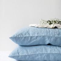 Set of 2 Sky Blue Stone Washed Linen Pillow Cases