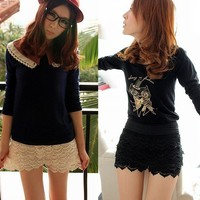 Korean Womens Fashion Sweet Cute Crochet Tiered Lace Shorts Skorts Short Pants P