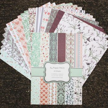 DIY Photo Album Flower  Decorative  Scrapbooking Papers  Crafts Art Card    A4  Single Side Printed 24 Sheets / Set