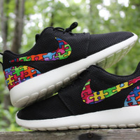 Autism Speaks Nike Roshe Run Black 10% of all profit goes to AutismSpeaks
