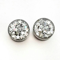 Iridescent silver star plugs / star gauges / 8g, 6g, 4g, 2g, 0g, 00g, 7/16, 1/2, 9/16, 5/8, 11/16, 3/4, 7/8, 1 inch / iridescent plugs