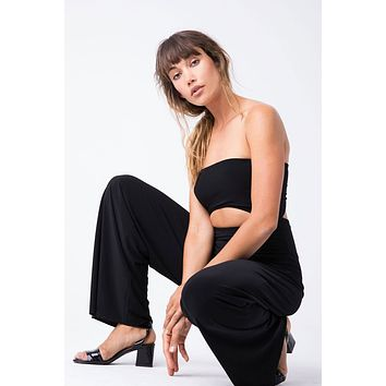 Strapless Cut Out Jumpsuit - Black