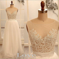 Cheap A line White Tulle Lace Wedding Dresses,V Back Wedding Dress, Lace Prom Dress, Bridal Dress, Formal Dress