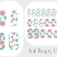 Flower Nail Wraps 18 Vinyl Full Nail Art Decals