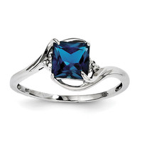 Sterling Silver Rhodium Plated Diamond & London Blue Topaz Ring
