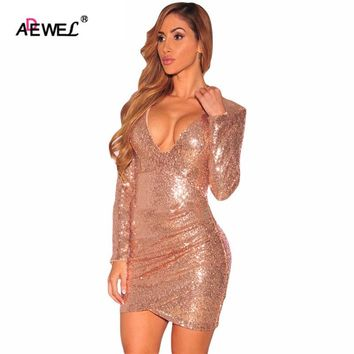 ADEWEL Party Mini Dress Long Sleeve Gold Sequin Dress Vestido Lentejuelas Femininos Silver Ruched Sequin Nightclub Dress
