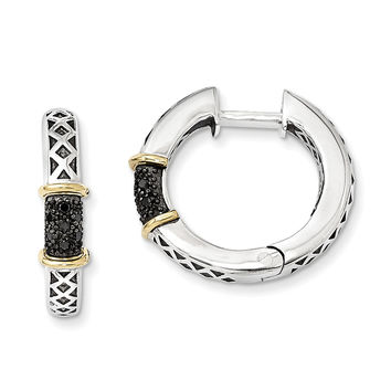Sterling Silver w/14k Antiqued Black Diamond Hinged Hoop Earrings QTC953