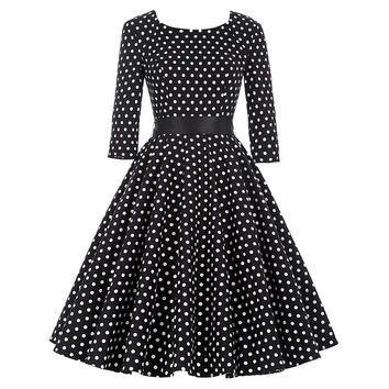 Female 3/4 Or Full Sleeve Summer Dress Autumn Spring Women Elegant Vintage Rockabilly Polka Dot Print Swing Party Dresses 2016