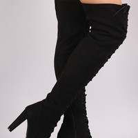 Wild Diva Lace Up Chunky Heel Over the Knee Boots