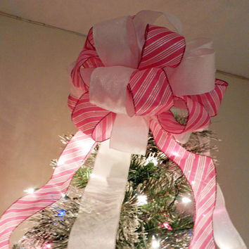 Large pink stripe and Shimmering White Ribbons Christmas Tree Topper Bow