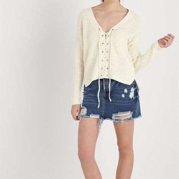 lorry lace up cardi