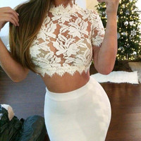 Lace Short Sleeve Bodycon Cropped Top