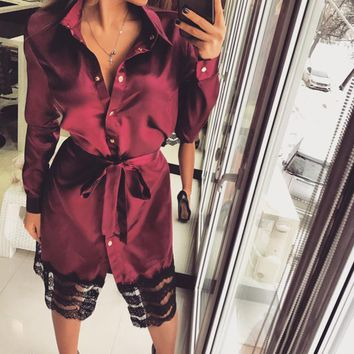 Women Shirts Dresses Lace Patchwork Long Sleeve Casual Vestidos With Belt For Women Femme Robe Spring Clothing WS5436A