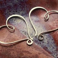 Heart Hoop Earrings, Sterling Silver