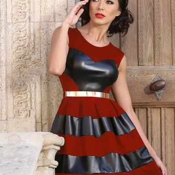 Red Sleeveless Leather Accent Skater Dress