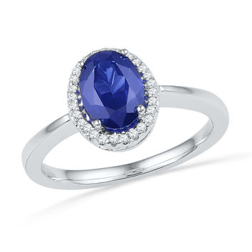 Sterling Silver Womens Oval Lab-Created Blue Sapphire Solitaire Diamond Ring 1-1/4 Cttw 101184