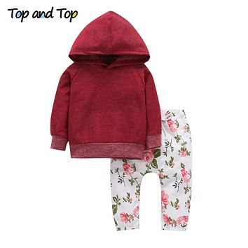 Top and Top 2017 Autumn Winter Newborn Baby Girls Casual Clothes Hoodie Tops+Floral Pants 2PCS Suit Infant Sports Clothing Sets