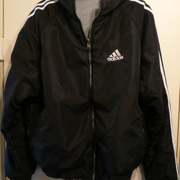 Vintage Adidas Jacket Large Black and Gray Coat Reversible