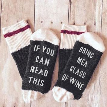 14 Styles humor words printed socks If You can read this Bring Me a Glass of Wine Cotton casual socks unisex socks free shipping