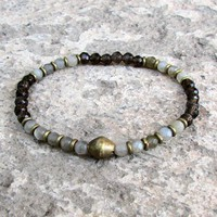 Serendipity and Positivity, Fine Faceted Labradorite and Smoky Quartz Bracelet