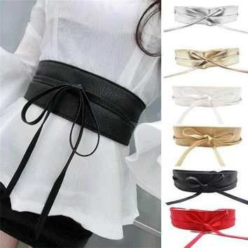 ESBU3C Fashion Women Metallic Color Boho Synthetic Leather Wide Self Tie Wrap Around Bowknot Waist Wide Dress Belt