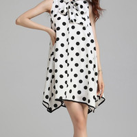 White Polka Dot Bowknot Mini Dress