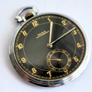 Vintage Military Doxa Black Dial Art Deco Mechanical Swiss Pocket Pilot Watch