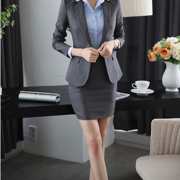 Women's Slim Hip Elegant Skirt & Stylish Professional Blazer Business Suit