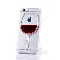 New Liquid Quicksand Red Wine Glass Clear Transparent Phone Case Hard Back Cover for iPhone 4 4s 5c 5 5s 6 6s 6 plus 6s plus