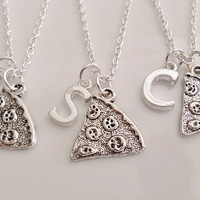 Set of 3 Pizza Necklaces, Initial Necklace, Personalized Necklace, Silver necklace, Sister Best friend boyfriend Girlfriend Gift
