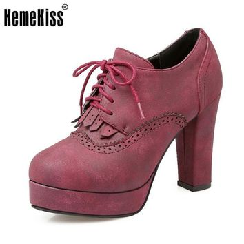 Size 34-43 Female Thick High Heeled Shoes Women Ankle Fretwork Cross Strap Vintage Hee