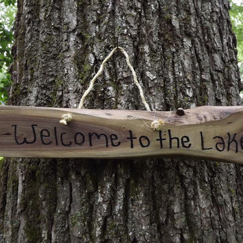 Custom/ fathers day/ wood sign/ welcome to the lake/ door sign/ personalized sign