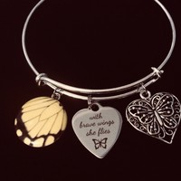 Butterfly Jewelry With Brave Wings She Flies Adjustable Bracelet Expandable Silver Charm Bangle Inspirational Gift
