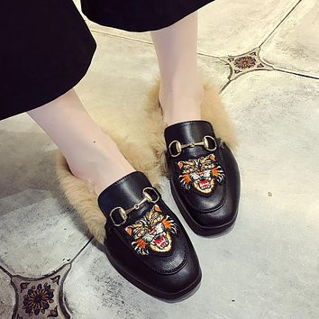 Women Fashion All-match Embroidery Leopard Head Rabbit Hair Square-toe Leather Shoes Loafer Flats Shoes