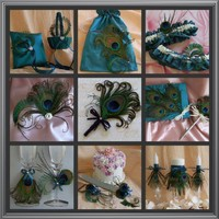 Peacock Feathers & Teal Wedding Color, 16pc Accessories Ensemble
