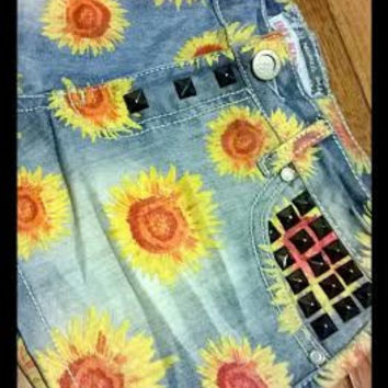 Sunflower Shorts- Studded Jean Shorts- Hippie Shorts- Floral Shorts
