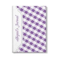 "Purple and White Gingham Pattern Personalized 5"" x 7"" Journal"