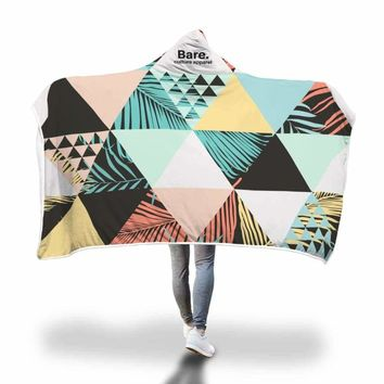 Geometric Colorful Hooded Blanket by Bare Culture Apparel