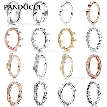PANDOCCI 100% 925 Sterling Silver Magic Crown Bow Heart Ring Gold Color Rose Gold Glamour Vintage Women Jewelry Wholesa