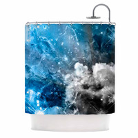"Shirlei Patricia Muniz ""We Are Waiting For.."" Blue Abstract Shower Curtain"