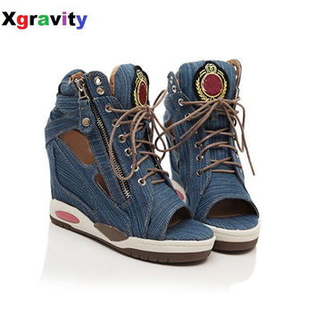 Spring Summer Open Toe Shoes Sexy Lady Pumps High Heel Girl Wedge Sandals Platform Lady Fashion Shoes Jeans Designer Wedges B018