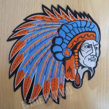 9 inches Indian chief embroidery large Embroidery Patches for Jacket Back Vest Motorcycle Club Biker MC