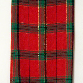 Tartan Christmas Tablecloth vintage 80s Red Green Black Gold Plaid Rectangular 60 x 80