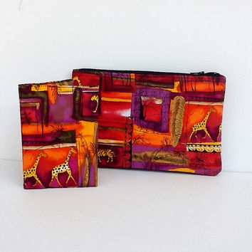 Safari Zippered Pouch Passport Cover Travel Set Cards Holder Jewelry Cosmetics Makeup Bag Phone Accessories Organizer Birthday Gift For Her