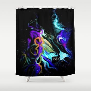 SPACE LOVE Shower Curtain by violajohnsonriley