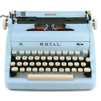 1956 Blue Royal Quiet De Luxe, Professionally Serviced, Royal Typewriter, Blue Typewriter, Working Typewriter, Gifts For Writers