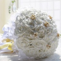 PEAPIX3 30 Pcs High Simulation Rose Bridal Holding Flowers Bouquet Wedding Flower Decorations Valentine's Gift = 1932903236